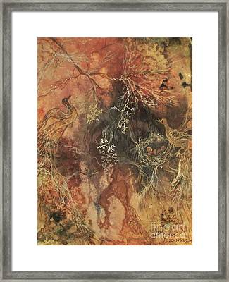 Framed Print featuring the mixed media Nesting Dialogue  by Delona Seserman