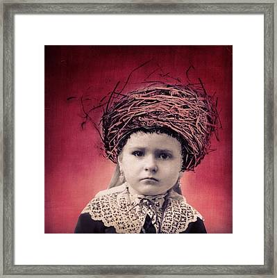 Nesting Series Girl With Lace Framed Print
