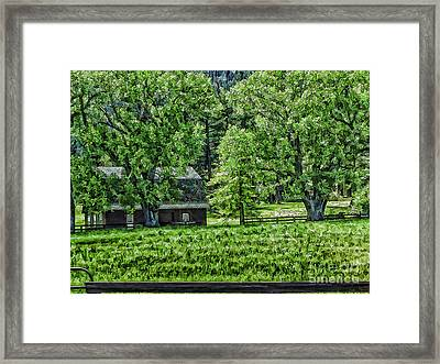 Nestled In The Trees Framed Print by Nancy Marie Ricketts