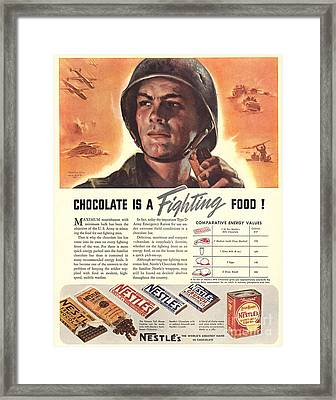 Nestle�s 1940s Usa Propaganda Chocolate Framed Print by The Advertising Archives