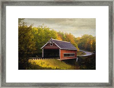 Netcher Road Covered Bridge Framed Print by Mary Timman