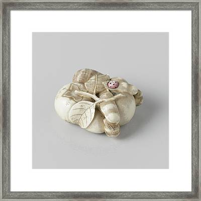 Netsuke, Representation Of A Combination With Fruit Framed Print