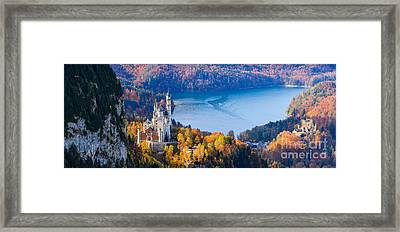 Neuschwanstein And Hohenschwangau Castle In Autumn Colours Framed Print
