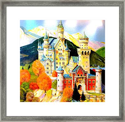 Neuschwanstein Castle In The Fall Framed Print by The Creative Minds Art and Photography