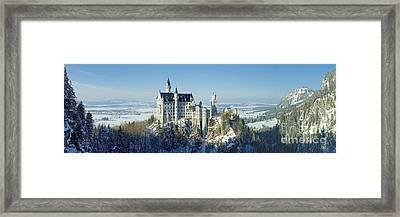 Neuschwanstein Castle Panorama In Winter 2 Framed Print