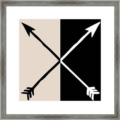 Neutral Glam Arrows Framed Print by South Social Studio