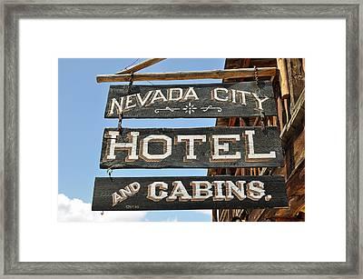 Nevada City Hotel Sign Framed Print