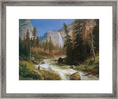 Nevada Fall Yosemite Framed Print by Herman Herzog