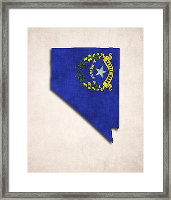 Nevada Map Art With Flag Design Framed Print by World Art Prints And Designs