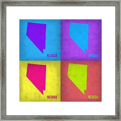 Nevada Pop Art Map 1 Framed Print