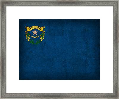 Nevada State Flag Art On Worn Canvas Framed Print