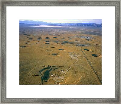 Nevada Test Site Atom Bomb Craters Framed Print by Los Alamos National Laboratory