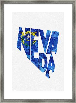 Nevada Typographic Map Flag Framed Print