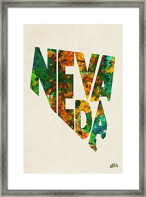 Nevada Typographic Watercolor Map Framed Print