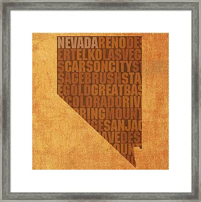 Nevada Word Art State Map On Canvas Framed Print