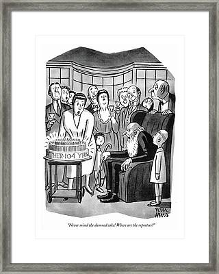 Never Mind The Damned Cake! Where Framed Print by Peter Arno