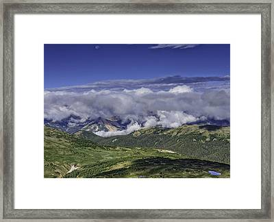 Never Summer Mtns In Clouds Framed Print by Tom Wilbert