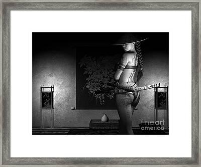 Never Vulnerable Bw Framed Print by Alexander Butler