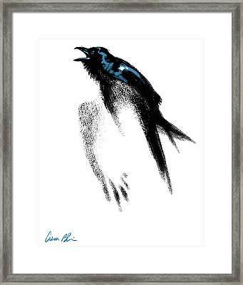 Framed Print featuring the digital art Nevermore  - Raven by Aaron Blaise