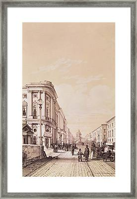 Nevsky Prospekt, St. Petersburg, Illustration From Voyage Pittoresque En Russie, 1843 Engraving Framed Print by Andre Durand
