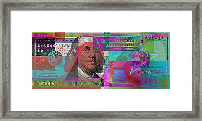 New 2009 Series Pop Art Colorized Us One Hundred Dollar Bill  V.3.2 Framed Print by Serge Averbukh
