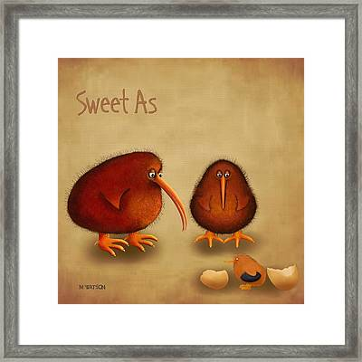 New Arrival. Kiwi Bird - Sweet As - Boy Framed Print by Marlene Watson