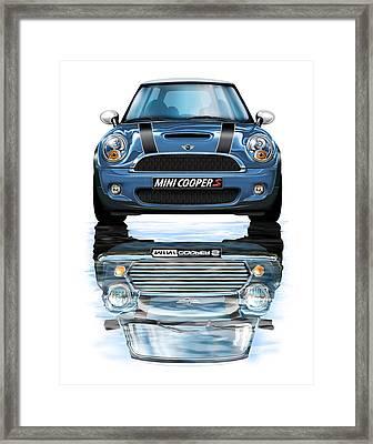 New Bmw Mini Cooper S Blue Framed Print by David Kyte