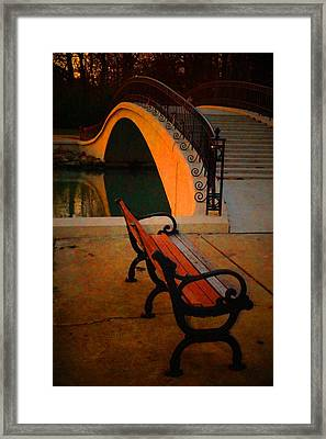 New Bridge And Bench Framed Print