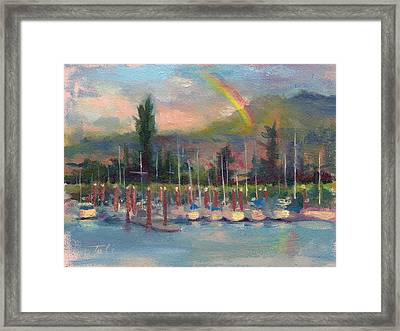 Framed Print featuring the painting New Covenant - Rainbow Over Marina by Talya Johnson