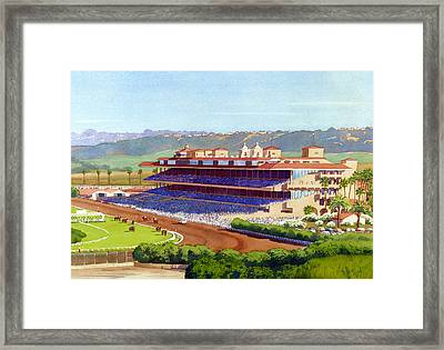 New Del Mar Racetrack Framed Print by Mary Helmreich