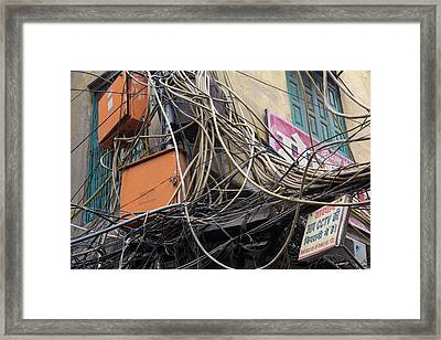 New Delhi, Mass Of Wires Framed Print