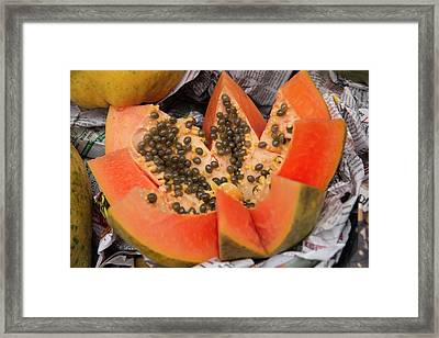 New Delhi, Street Market, Fresh Papaya Framed Print by Emily Wilson