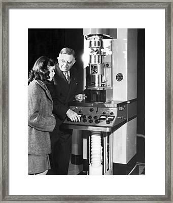 New Electron Microscope Framed Print by Underwood Archives
