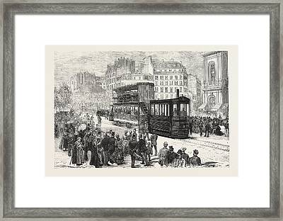 New Engine For Propelling Tramway Cars, Now In Use In Paris Framed Print