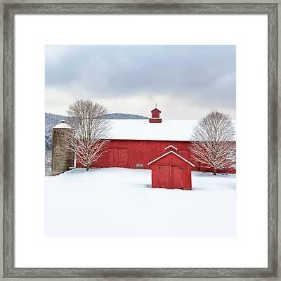 New England Barns Square Framed Print