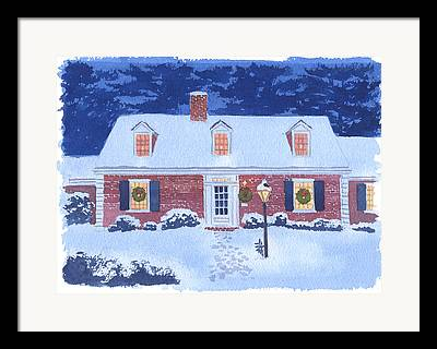 New England Snow Scene Framed Prints