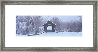 New England Covered Bridge In Winter Framed Print by Panoramic Images
