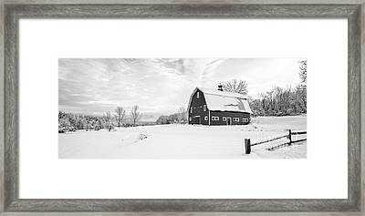 New England Farm Winter Black And White Framed Print