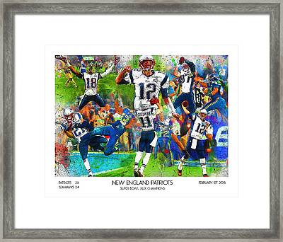 New England Patriots Champions 2015 Framed Print by John Farr