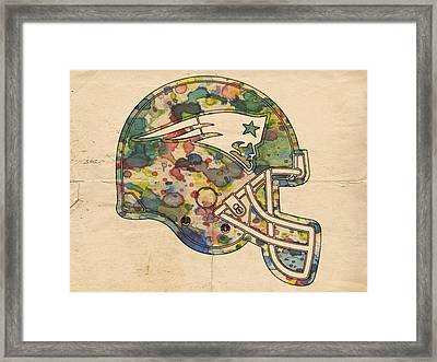 New England Patriots Helmet Art Framed Print by Florian Rodarte