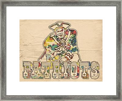New England Patriots Vintage Art Framed Print by Florian Rodarte