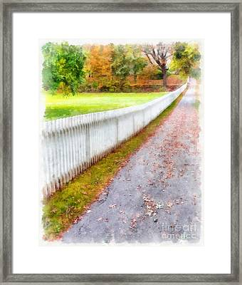 New England Picket Fence Framed Print by Edward Fielding