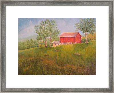 New England Red Barn At Sunrise Framed Print by Pamela Allegretto