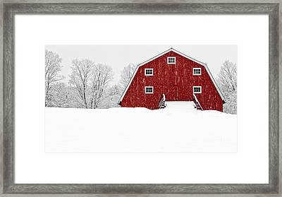 New England Red Barn In Winter Snow Storm Framed Print