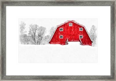 New England Red Barn In Winter Snow Storm Watercolor Framed Print