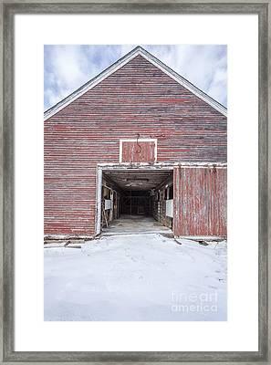 New England Red Barn Open Door Framed Print