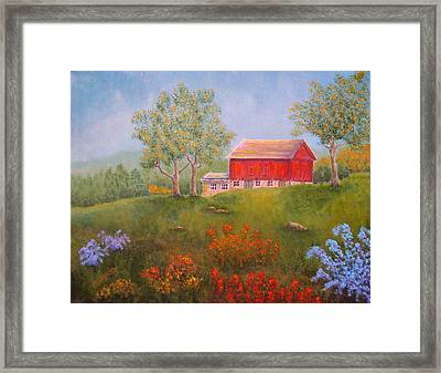 New England Red Barn Summer Framed Print