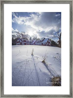 New England Red Farm House Winter Framed Print by Edward Fielding