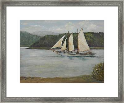 Framed Print featuring the painting New England Schooner by Sandra Nardone