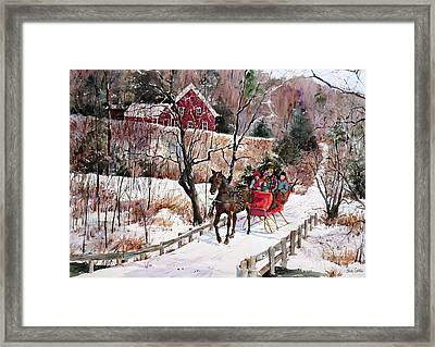 New England Sleighride Framed Print by Sherri Crabtree